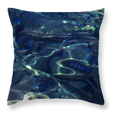 Throw Pillow featuring the photograph Ocean Water Reflections.santorini Island Greece by Colette V Hera  Guggenheim
