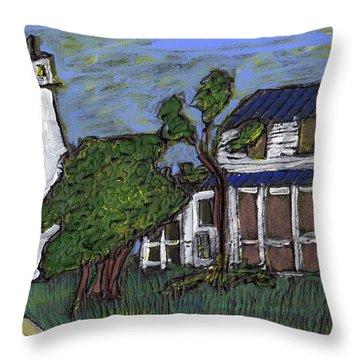 Ocracoke Island Light House Throw Pillow