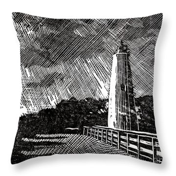 Throw Pillow featuring the painting Ocracoke Island Lighthouse II by Ryan Fox