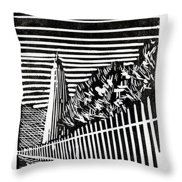 Throw Pillow featuring the painting Ocracoke Island Lighthouse by Ryan Fox