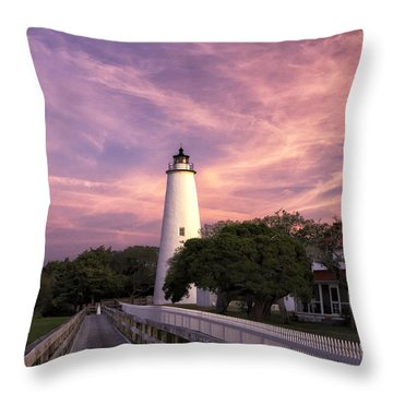 Ocracoke Lighthouse 01 Throw Pillow