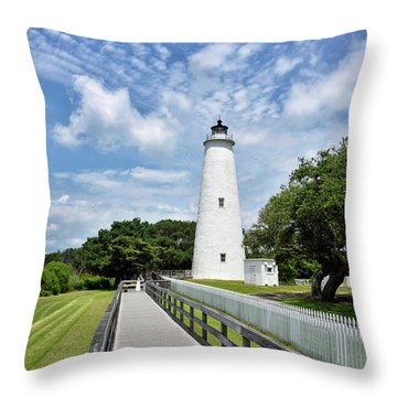 Ocracoke Lighthouse - Outer Banks Throw Pillow