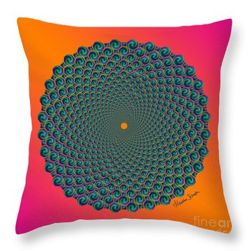 Octagonal Peacock Feathers Throw Pillow