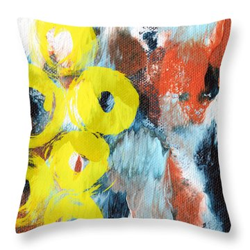 October- Abstract Art By Linda Woods Throw Pillow