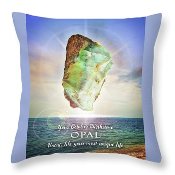 October Birthstone Opal Throw Pillow