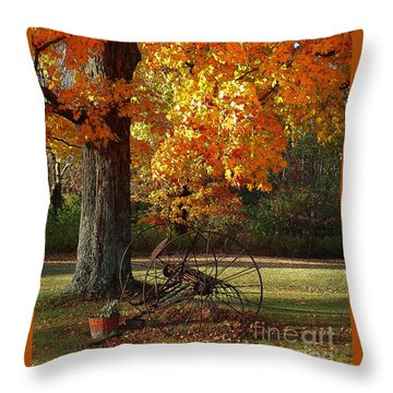 Throw Pillow featuring the drawing October Day by Diane E Berry