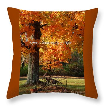 Throw Pillow featuring the photograph October Day Love Generosity Hope by Diane E Berry