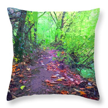 October Forest Pathway Throw Pillow