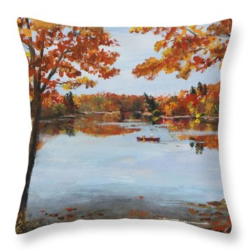 October Morn At Walden Pond Throw Pillow