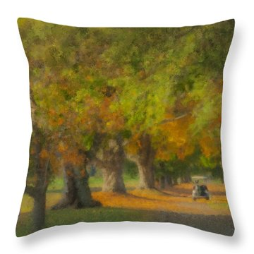 October Morning At Easton Country Club Throw Pillow