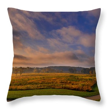 October Morning At Valley Forge Throw Pillow by Rima Biswas