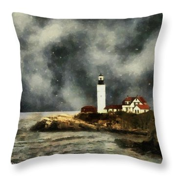 October Night, Portland Head Throw Pillow