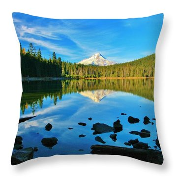 October On The Lake Throw Pillow by Sheila Ping