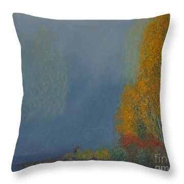 October On The River Throw Pillow