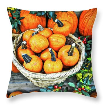 Throw Pillow featuring the photograph October Pumpkins by Joan Reese