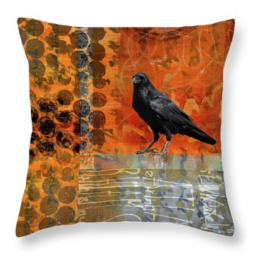 Throw Pillow featuring the painting October Raven by Nancy Merkle
