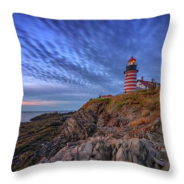 Throw Pillow featuring the photograph October Sky At West Quoddy Head Light by Rick Berk