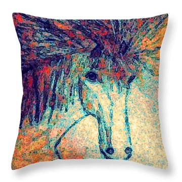 Throw Pillow featuring the painting October Spectra by Holly Martinson
