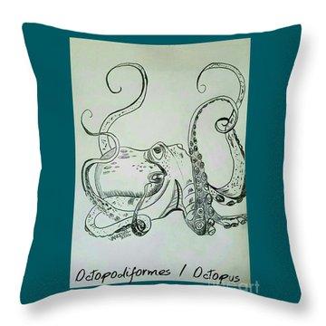 Octopodiformes Octopus Throw Pillow by Scott D Van Osdol