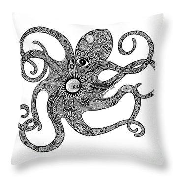 Octopus Throw Pillow by Carol Lynne