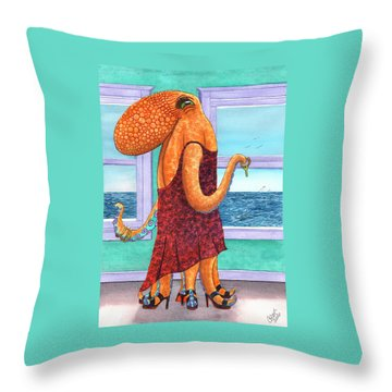 Octopus In A Cocktail Dress Throw Pillow