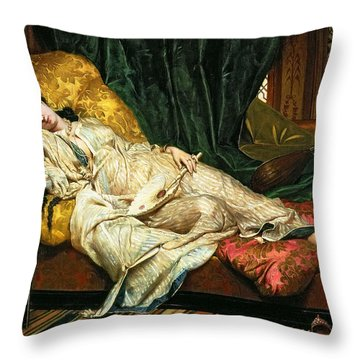 Odalisque With A Lute Throw Pillow by Hippolyte Berteaux