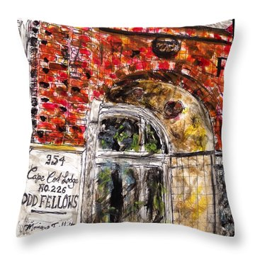 Throw Pillow featuring the painting Odd Fellows, Cape Cod by Monique Faella