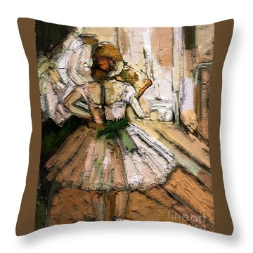 Throw Pillow featuring the painting Ode To Degas by Carrie Joy Byrnes