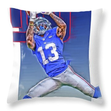 Odell Beckham Jr New York Giants Oil Art Throw Pillow