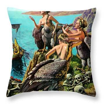 Odysseus And The Sirens Throw Pillow