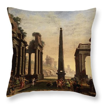Odysseus Pulls Achill From The Palace Of Lykomedes  Throw Pillow