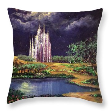 Of Glass Castles And Moonlight Throw Pillow