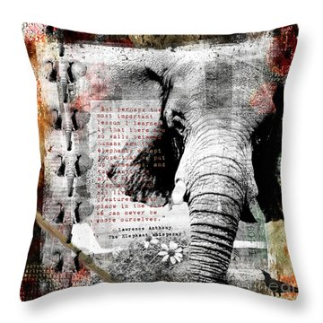 Throw Pillow featuring the digital art Of Elephants And Men by Nola Lee Kelsey