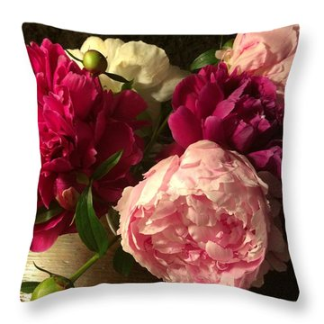 Off Center Peonies Throw Pillow by Gillis Cone