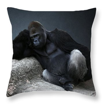Off Duty Gorilla Throw Pillow