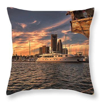 Off The Port Stern Throw Pillow
