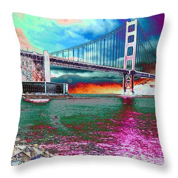 Off The Rocks Fishing Throw Pillow