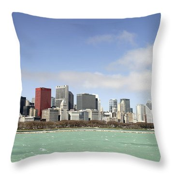 Off The Shore Of Chicago Throw Pillow