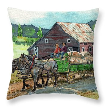 Off To Market Throw Pillow