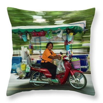 Throw Pillow featuring the photograph Off To Work by Dan McGeorge