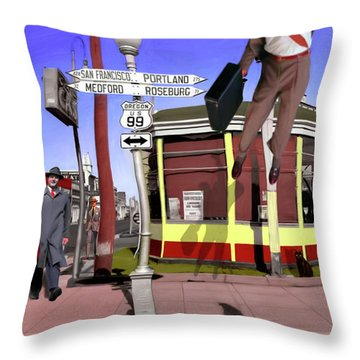 Off To Work Throw Pillow by Snake Jagger