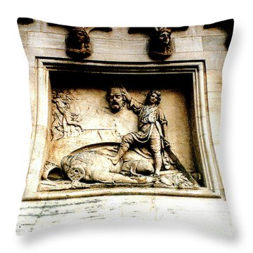 Throw Pillow featuring the photograph Off With His Head - Sculpture On The Cathedral In Milan,italy by Merton Allen