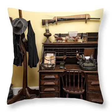 Office Of Jail Throw Pillow by Linda Constant
