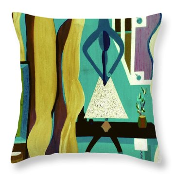 Throw Pillow featuring the painting Office Party by Bill OConnor