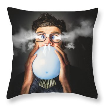 Throw Pillow featuring the photograph Office Party Nerd Blowing Up Birthday Balloon by Jorgo Photography - Wall Art Gallery