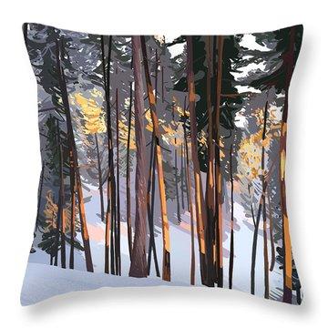 Office View Winter Alpenglow Throw Pillow