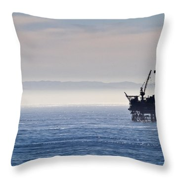 Offshore Oil Drilling Rig Throw Pillow by Roger Mullenhour