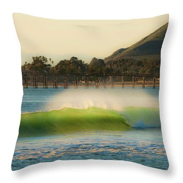 Offshore Wind Wave And Ventura, Ca Pier Throw Pillow