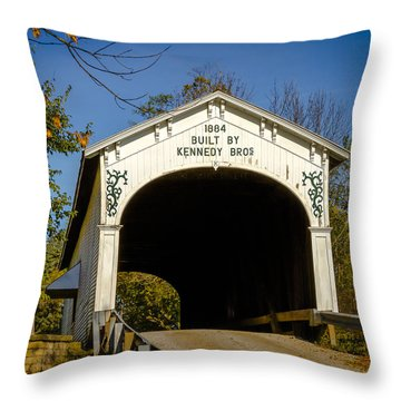 Offutt's Ford Covered Bridge Throw Pillow