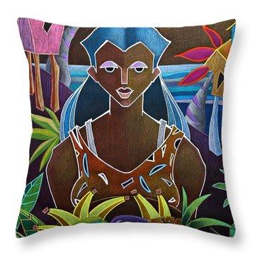 Throw Pillow featuring the painting Ofrendas De Mi Tierra II by Oscar Ortiz